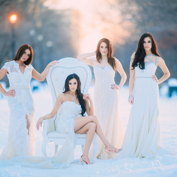 Fun in the snow with Angela's Bridal