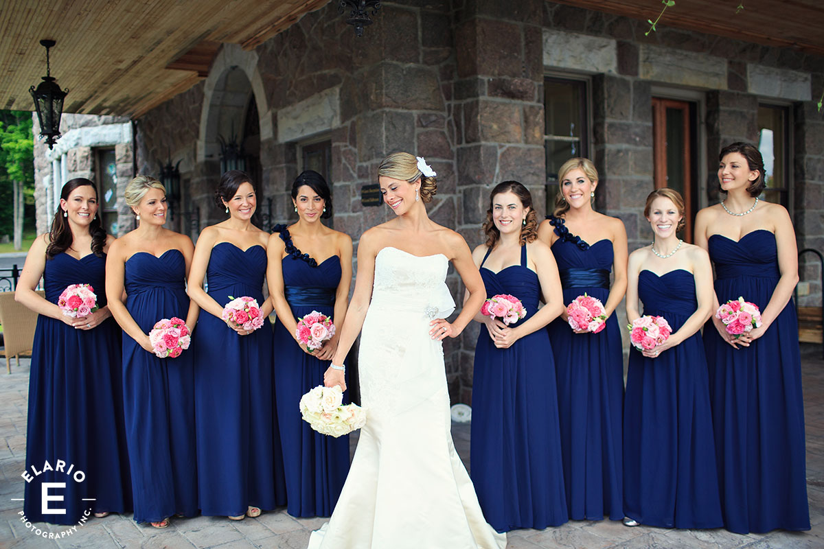 Navy Blue Bridesmaid Dresses With Pink Flowers